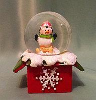 """Новогодний шар со снегом """"Пингвинчик на санях"""" 6,5*4см., фото 1"""