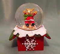 """Новогодний шар со снегом """"Олененок на санях"""" 6,5*4см., фото 1"""