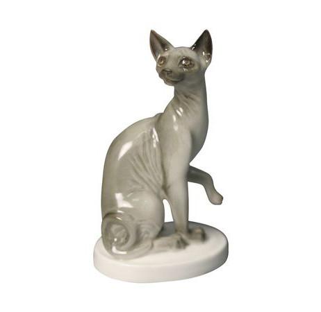 Фарфоровая статуэтка Кошка-сфинкс. ИФЗ, ручная роспись