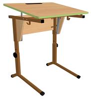 Стол одноместный, регул-ый по высоте и наклону столешницы (0-24°)Каркас из плоскоовальной трубы (р.гр.№3-5)