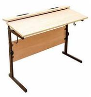 Стол ученический двухместный, регулируемый по высоте (р.гр. №2-4) и наклону столешницы от 0 до 15 градусов