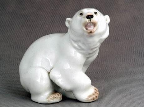 Скульптура Медвежонок белый. ИФЗ. Ручная роспись