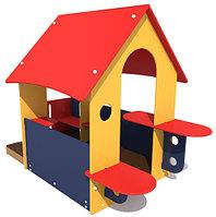 Домик детский, с крышей, сидениями, со столом, разноцветный