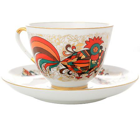 Чашка с блюдцем Красный петух. Ручная роспись. Авторская работа