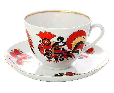 Чайная пара Красные петушки. Императорский фарфор. Ручная роспись