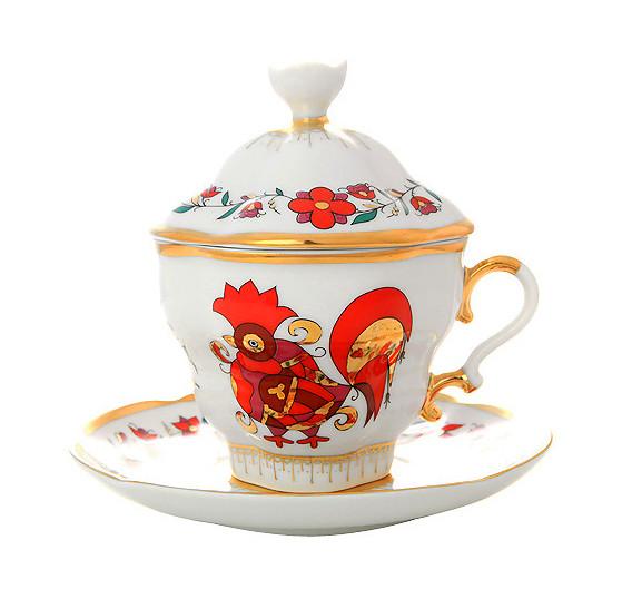 Чайная пара с крышкой Сувенир. Ручная роспись, Императорский фарфоровый завод