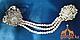 Браслет с кольцом на цепочке для руки, Серебристый с жемчужными бусинами, фото 2