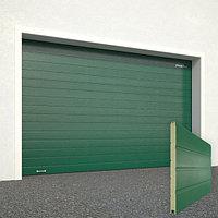 Ворота секционные RSD02, дизайн панели: доска, цвет: зеленый.