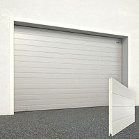 Ворота секционные RSD02, дизайн панели: доска, цвет: серебро.