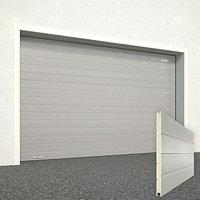 Ворота секционные RSD02, дизайн панели: доска, цвет: серый.