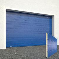 Ворота секционные RSD02, дизайн панели: доска, цвет: синий.