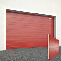 Ворота секционные RSD02, дизайн панели: доска, цвет: красный.