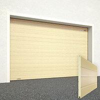 Ворота секционные RSD02, дизайн панели: доска, цвет: бежевый.