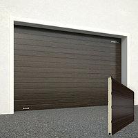 Ворота секционные RSD02, дизайн панели: доска, цвет: венге.