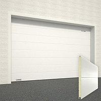 Ворота секционные RSD02, дизайн панели: широкая полоса, цвет: белый., фото 1