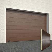 Ворота секционные RSD02, дизайн панели: широкая полоса, цвет: коричневый., фото 1