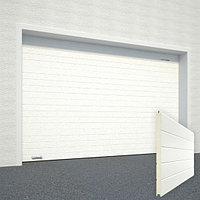 Ворота секционные RSD02, дизайн панели: горизонтальная полоса (гофра), цвет: белый.