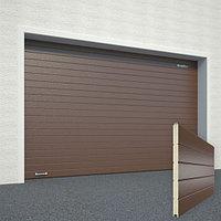 Ворота секционные RSD02, дизайн панели: горизонтальная полоса (гофра), цвет: коричневый., фото 1