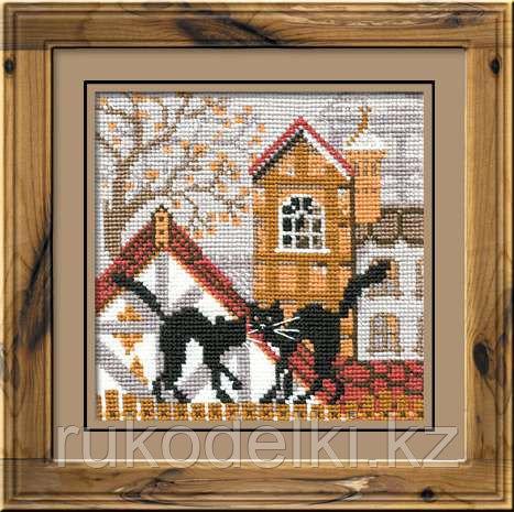 """Набор для вышивания крестом """"Город и кошки. Осень"""""""