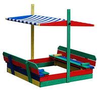 Песочница детская, с сидениями со спинкой, с крышей