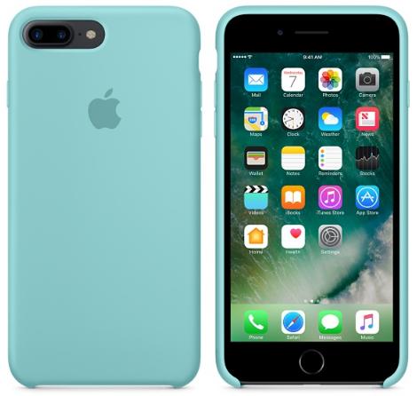 Cиликоновый чехол для iPhone 8 Plus (синее море)