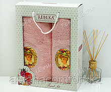 """Подарок для женщины. - Набор полотенец """"Ребека"""" в подарочной коробке. Турция."""