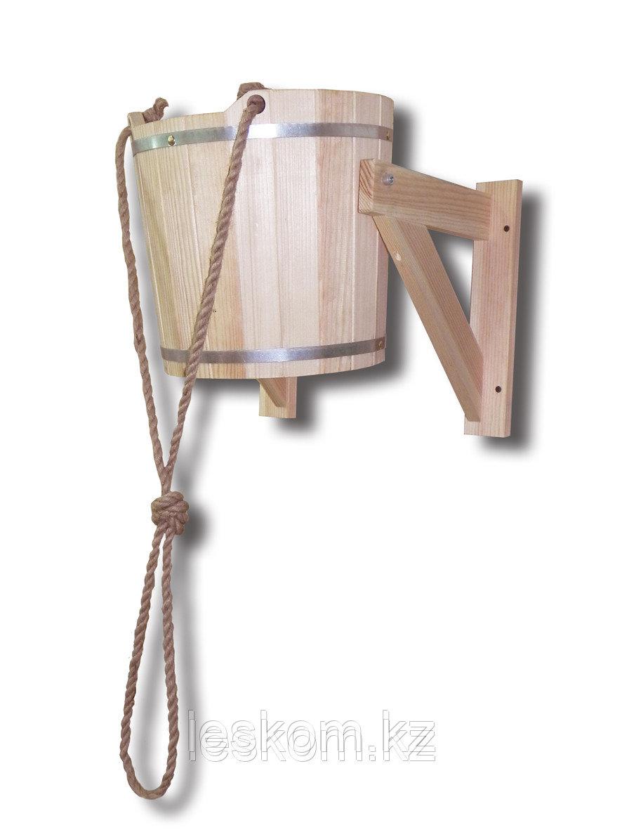 Обливное ведро (Кедр) 14 л с пластик вставкой с переливом