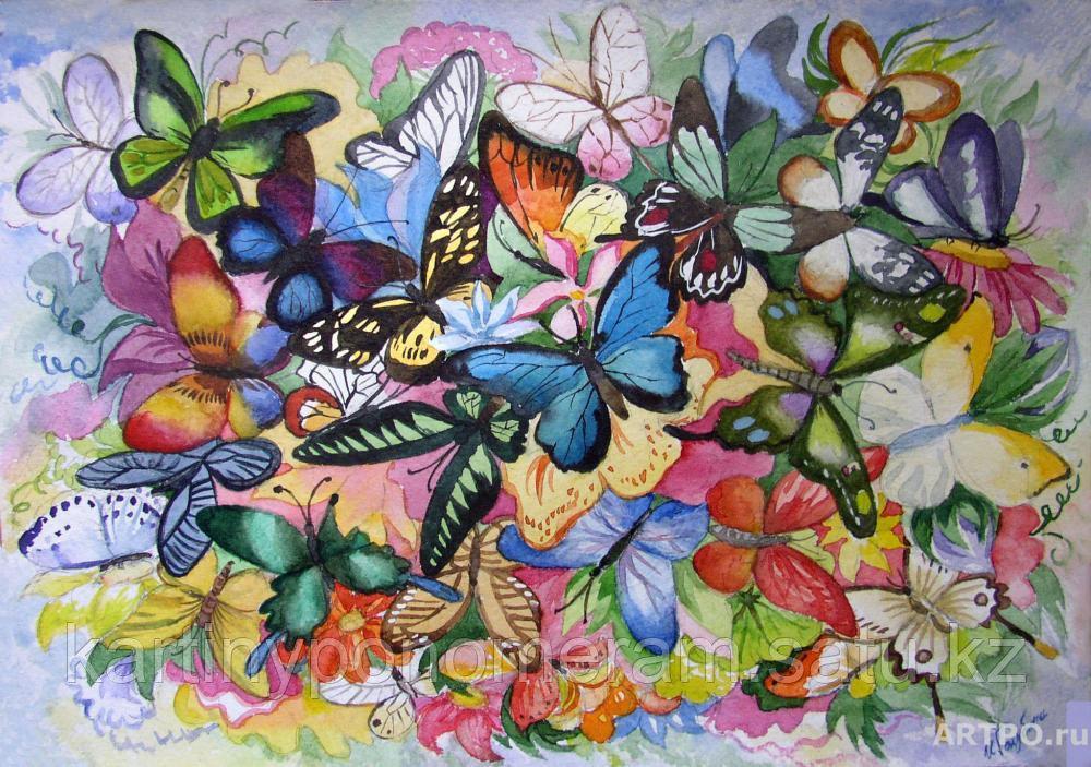 """Картины по номерам  - Алматы,  """"Салют из бабочек"""""""