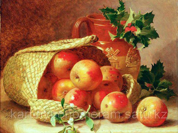 """Картины по номерам  - Алматы,  """"Корзина с яблоками 30х40"""""""