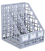 Лоток вертикальный сборный 3 отделения серый
