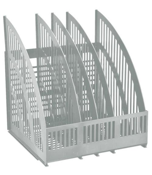 Лоток LINE, Cборный вертикальный 4 отделения серый