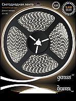 Светодиодная лента Gauss 3528/120-SMD 9.6W 12V DC теплый белый IP66 (блистер 5м), фото 1