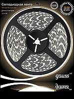 Светодиодная лента Gauss 5050/60-SMD 14.4W 12V DC теплый белый (блистер 5м), фото 1