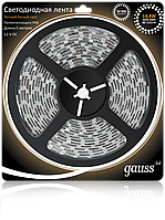 Светодиодная лента Gauss 5050/60-SMD 14.4W 12V DC теплый белый IP66 (блистер 5м)