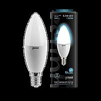 Светодиодная лампа свеча Gauss LED Candle E14 6.5W 4100К (холодный белый), фото 1