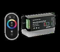 Контроллер для светодиодной ленты RGB 144W 12А с сенсорный пультом управления цветом (цвет черный)
