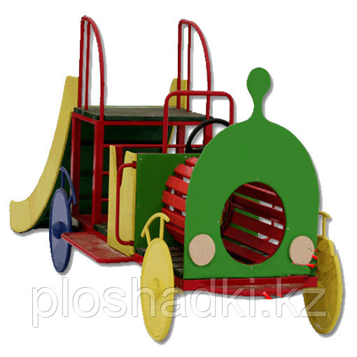 Паровоз детский, с горкой, лазом, сидениями, рулем