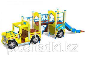 Машинка детская, с лазом, горкой, сидениями, канатом