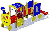 Паровозик детский, игровой, с горкой, сидениями, фото 1