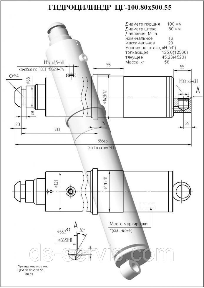 Гидроцилиндр опоры (вывешивания) крана 100х80-500.55 (141)  Ц22А.000