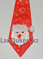 Галстук новогодний для бутылок с Дед морозом красный 22 см