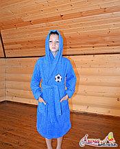 Детский махровый халат для мальчика с капюшоном