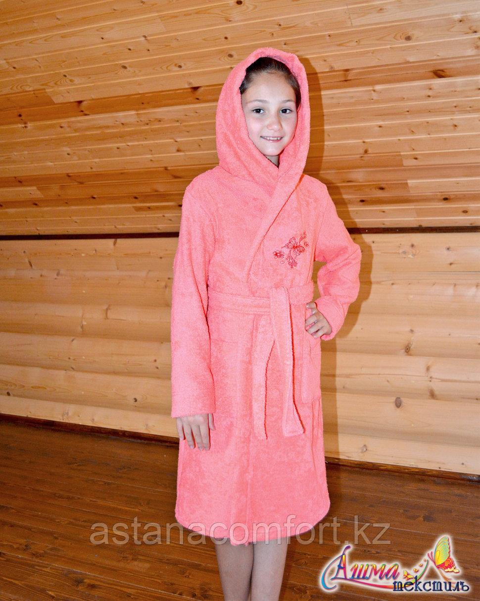 Детский махровый халат для девочки с капюшоном