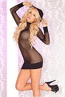 Платье-сетка c капюшоном черное-S/M, фото 1