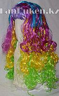 Парик карнавальный разноцветный с фиолетовой челкой 55 см