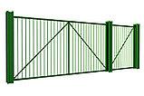 Откатные ворота 3500х2000 стандартные с решеткой из профильной трубы , фото 2