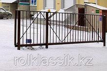 Откатные ворота 5000х2500 стандартные с решеткой из профильной трубы