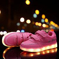 LED Кроссовки детские со светящейся подошвой, розовые, классические низкие, фото 1