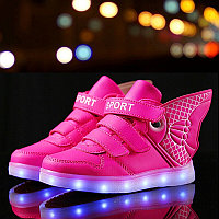 """LED Кроссовки детские со светящейся подошвой """"рыбка"""", розовые, фото 1"""