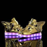 LED Кроссовки детские со светящейся подошвой, золотая рыбка, фото 1